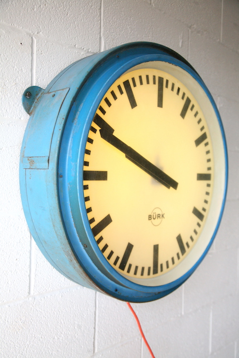 1950s Large Round Illuminating Industrial Wall Clock By