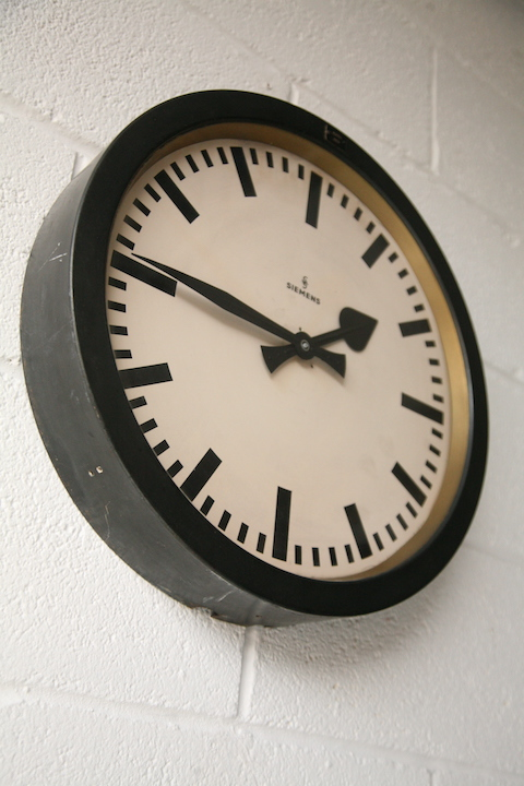 1950s Round Industrial Wall Clock By Siemens Cream And
