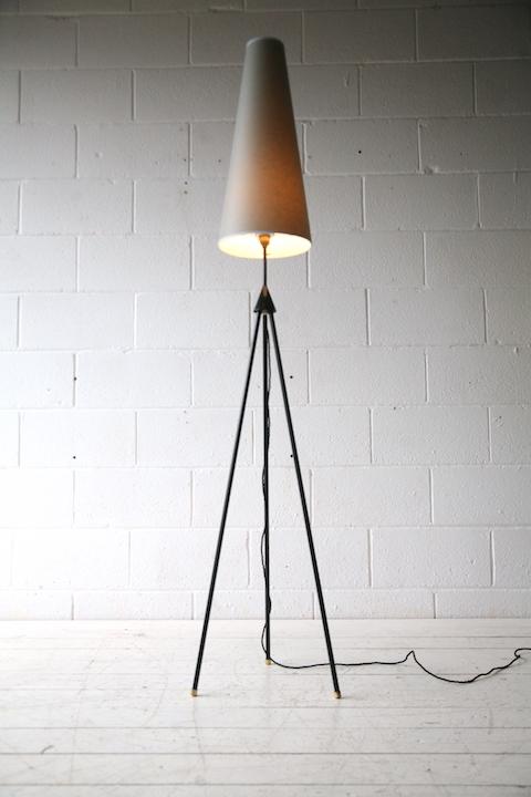 1950s Tripod Floor Lamp Cream And Chrome