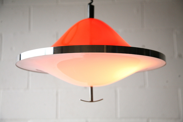 1970s Orange Rise And Fall Ceiling Light Cream And Chrome
