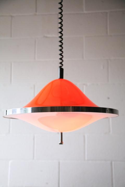 1970s Orange Rise And Fall Ceiling Light Cream And Chrome