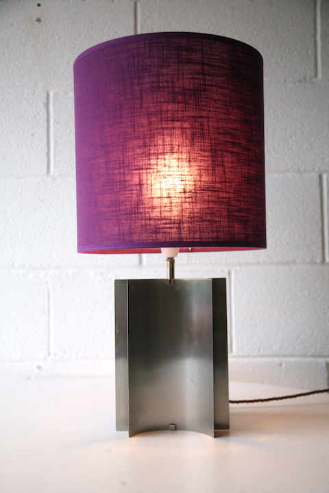 1970s Table Lamp Purple Shade Cream And Chrome