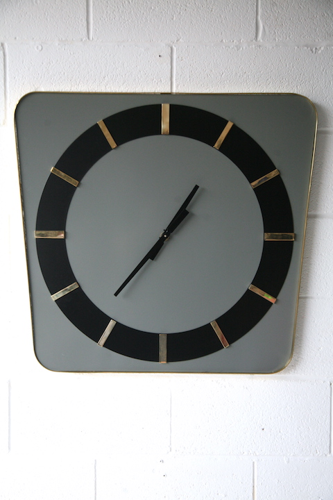 large 1950s french brass wall clock cream and chrome