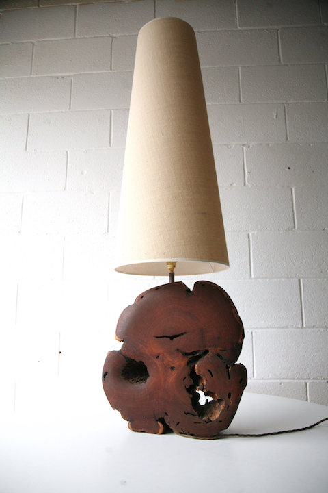 Large vintage wooden floor lamp cream and chrome for Large cream floor lamp