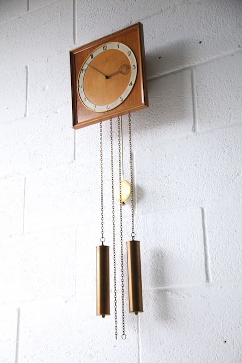 Vintage 1960s Junghans Pendulum Wall Clock Cream And Chrome