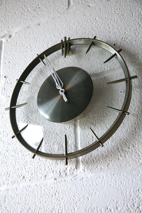 1950s Glass Clock By Jaz Cream And Chrome