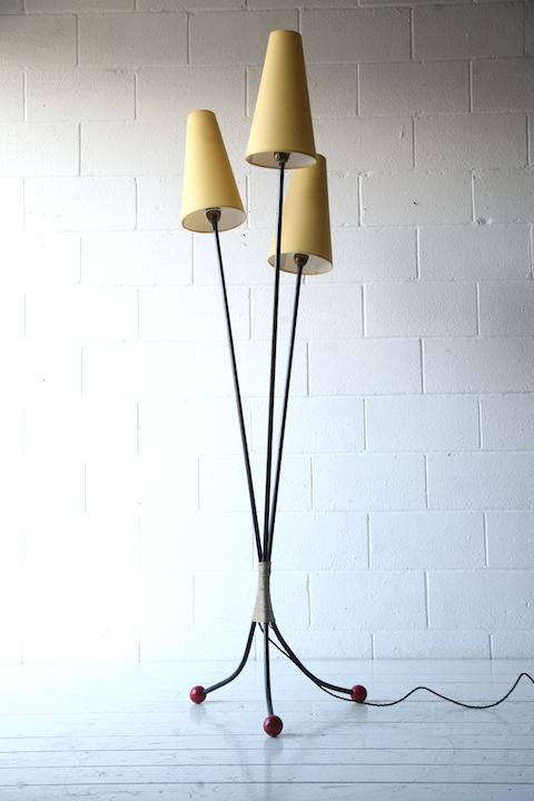 1950s triple floor lamp cream and chrome for Triple a flooring