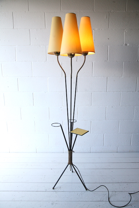 1950s Tripod Floor Lamp And Table Cream And Chrome