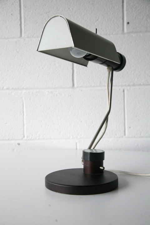 1960s Grey Desk Lamp Cream And Chrome