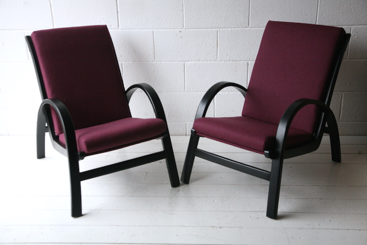 Pair Of 1930s Lounge Chairs Cream And Chrome