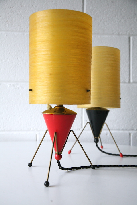 Pair Of 1950s Atomic Table Lamps Cream And Chrome