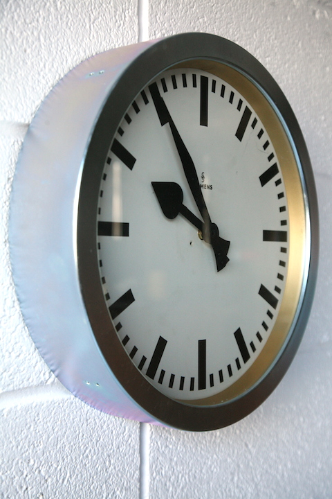 Vintage 1950s Wall Clock By Siemens Cream And Chrome