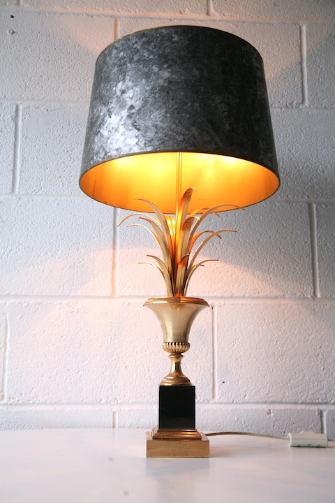 Vintage Large Maison Charles Table Lamp Cream And Chrome
