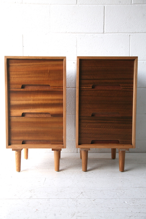 1950s Bedside Cabinets By Stag Cream And Chrome
