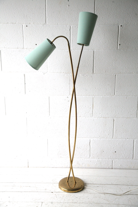 1950s Brass Double Floor Lamp Cream And Chrome