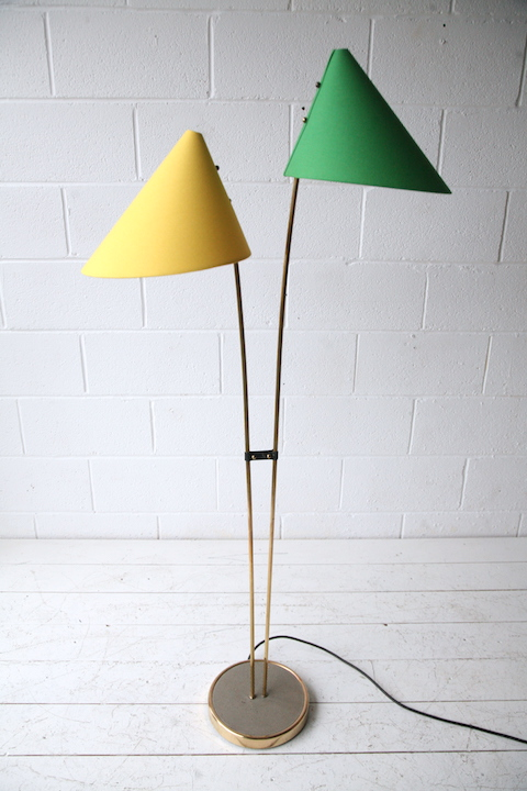 1950s Green And Yellow Double Floor Lamp Cream And Chrome
