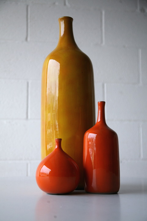 1960s Vases By Jacques And Dani Ruelland Cream And Chrome