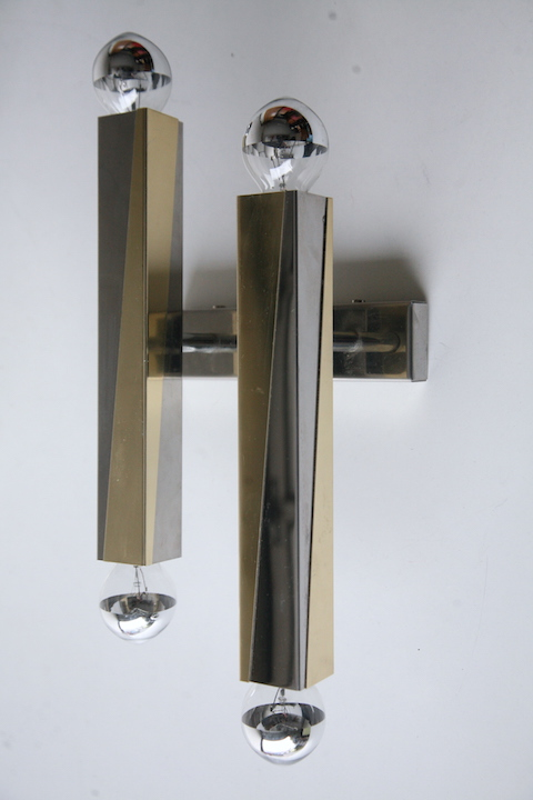 Pair Of 1970s Brass Chrome Wall Lights Cream And Chrome