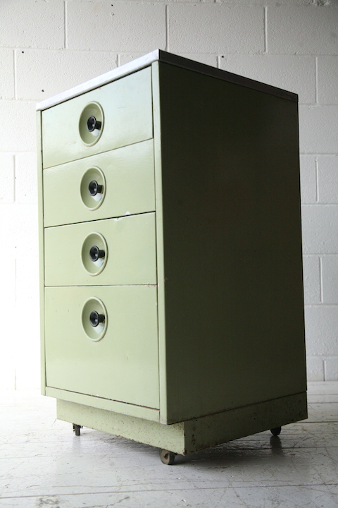 Vintage Industrial Metal Chest Of Drawers Cream And Chrome