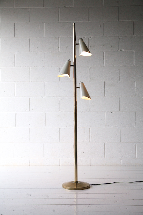 1950s American Triple Floor Lamp Cream And Chrome