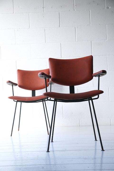 1950s Vinyl Armchairs Cream And Chrome