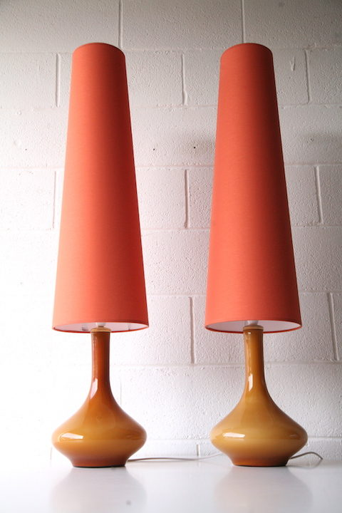 1960s Amber Glass Table Lamps