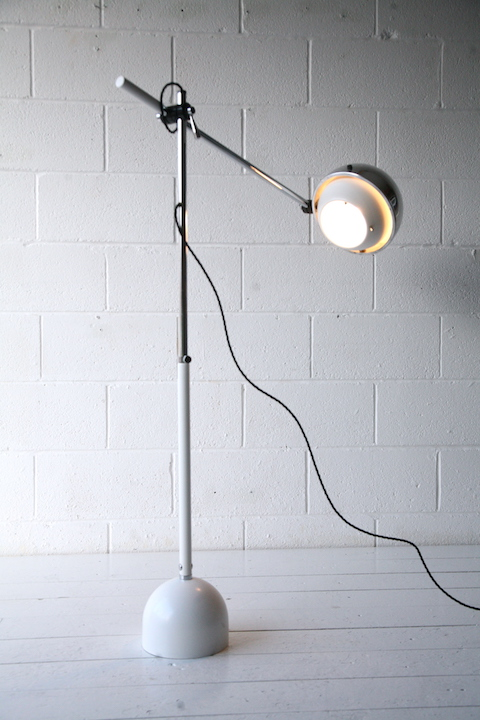 1970s Floor Lamp Cream And Chrome
