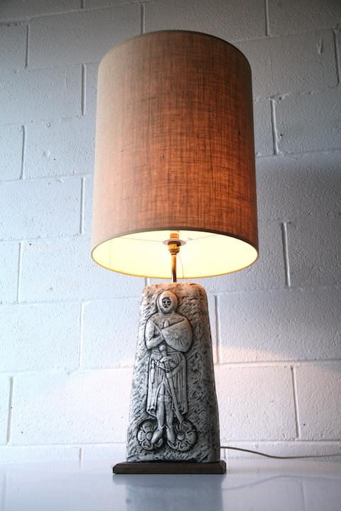 Ceramic Wall Lamp Shades : Large Vintage Ceramic Lamp & Shade Cream and Chrome