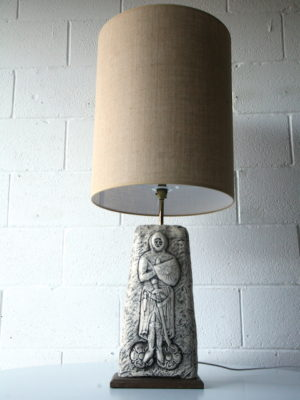 Large Vintage Ceramic Lamp & Shade 4