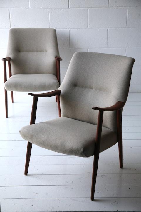 Pair of 1960s Danish Teak Armchairs | Cream and Chrome