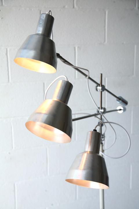 vintage 3 arm floor lamp cream and chrome. Black Bedroom Furniture Sets. Home Design Ideas