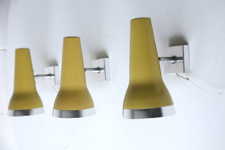 Vintage 1960s Wall Lights By Conelight Cream And Chrome