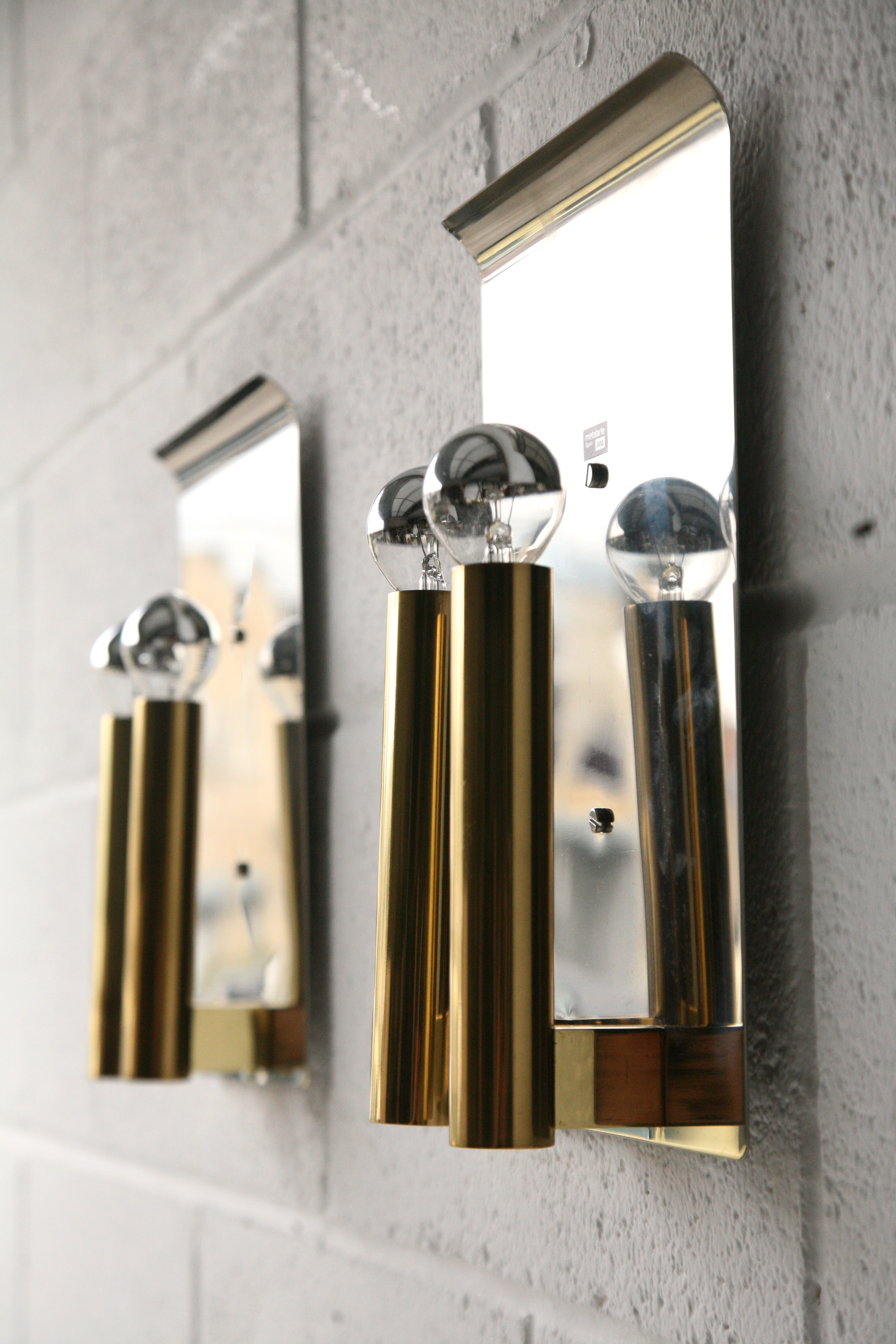 Chrome & Brass Wall Lights by Metalarte Spain 1