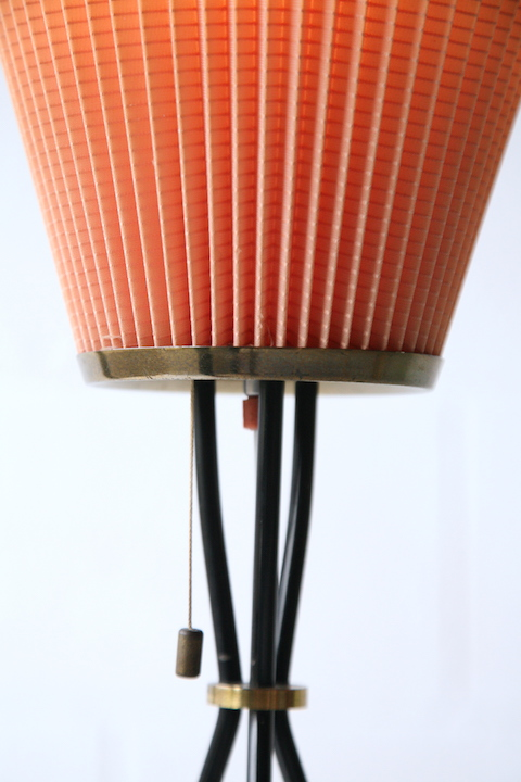 1950s French Tripod Floor Lamp With Pleated Shade Cream