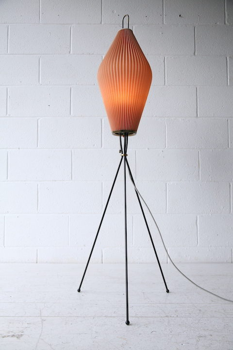 1950s French Tripod Floor Lamp with Pleated Shade