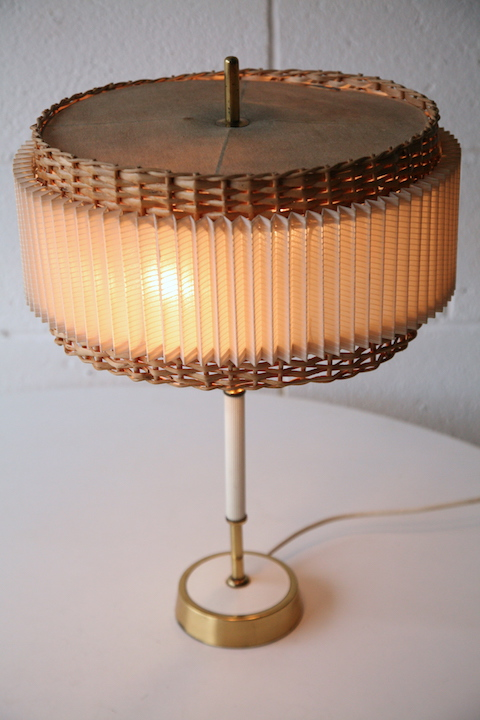 1960s Wicker Table Lamp Cream And Chrome