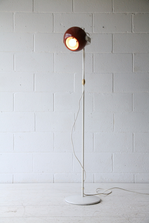 1970s Brown Eyeball Floor Lamp Cream And Chrome