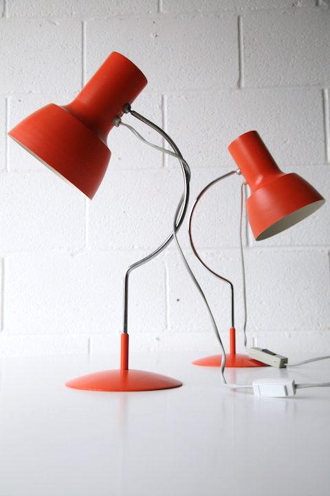 Pair of 1960s Orange Desk Lamps 2