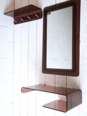 Vintage 1970s Smoked Perspex Hall Set