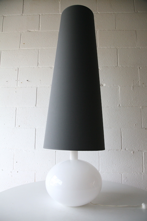large glass lamp grey shade cream and chrome. Black Bedroom Furniture Sets. Home Design Ideas