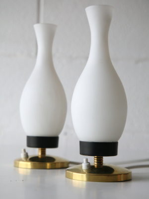 Pair Vintage Italian Glass Bedside Lamps