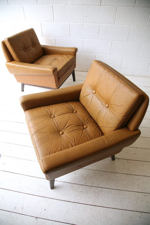 Pair of Danish Leather Armchairs by Skipper