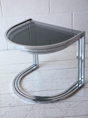 1970s Chrome and Smoked Glass Nest of Tables 1