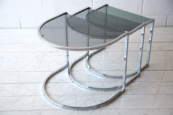 1970s Chrome And Smoked Glass Nest Of Tables Cream And