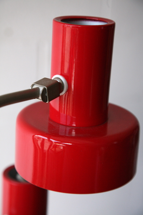 1970s Double Red Floor Lamp Cream And Chrome