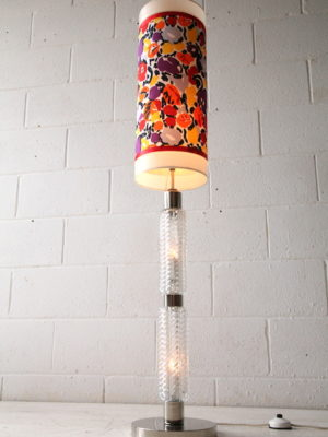 1970s Glass Floor Lamp with Floral Shade 1