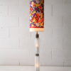 1970s Glass Floor Lamp with Floral Shade