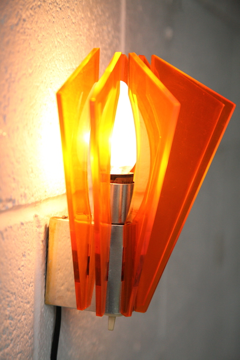 1970s Orange Plastic Wall Light Cream And Chrome