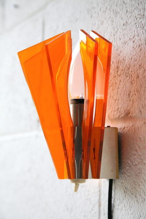 1970s Orange Plastic Wall Light