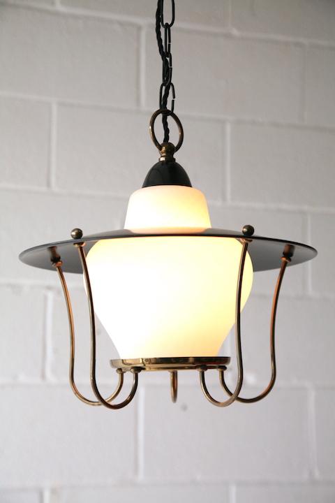 Black 1950s Lantern Ceiling Light Cream And Chrome